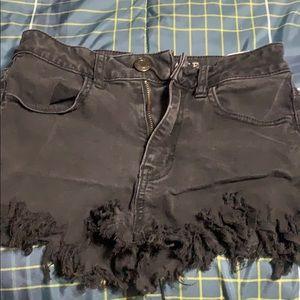 AEO short shorts black denim